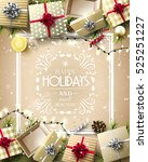 gift boxes and baubles on gold... | Shutterstock .eps vector #525251227