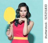 beautiful stylish woman holding ... | Shutterstock . vector #525251833