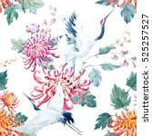 Stock photo watercolor pattern red heads crane chrysanthemum flowers asian traditional motif 525257527