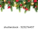 christmas border with trees ... | Shutterstock . vector #525276457