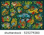 colorful vector hand drawn... | Shutterstock .eps vector #525279283