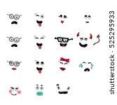 set of fun emoticon smileys... | Shutterstock . vector #525295933