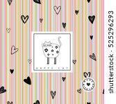 happy cat card   seamless... | Shutterstock .eps vector #525296293