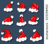 santa hats vector set.... | Shutterstock .eps vector #525298903