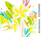 tropical floral seamless... | Shutterstock .eps vector #525304483