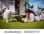 woman on the grass with a dog... | Shutterstock . vector #525325717