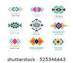 Colorful  Aztec style ornamental simple geometric logo set. American indian ornate pattern design collection. Tribal decorative templates. Ethnic ornamentation. EPS 10 vector illustration isolated. | Shutterstock vector #525346663