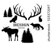 vector monochrome vintage set... | Shutterstock .eps vector #525372097