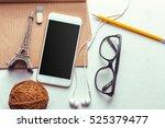 top view smartphone mock up... | Shutterstock . vector #525379477