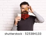 handsome bearded man with... | Shutterstock . vector #525384133