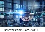 partners shaking hands . mixed... | Shutterstock . vector #525398113