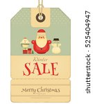 christmas sale tag in retro... | Shutterstock .eps vector #525404947