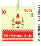 christmas sale tag in retro... | Shutterstock .eps vector #525405253