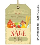 christmas supermarket sale tag... | Shutterstock .eps vector #525406183