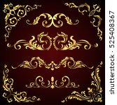 victorian vector set of golden...