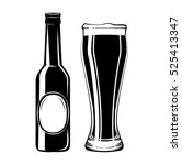 beer bottle and glass. alcohol... | Shutterstock .eps vector #525413347