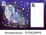 leo zodiac sign.lion horoscope... | Shutterstock . vector #525418993