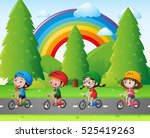 four kids riding bicycle in...   Shutterstock .eps vector #525419263