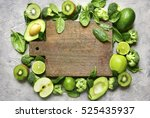 Variety Of Green Fruits And...