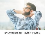 portrait of casual bearded... | Shutterstock . vector #525444253