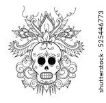 dia de los muertos. colouring... | Shutterstock .eps vector #525446773