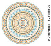 mandala ornament in the folk... | Shutterstock .eps vector #525455503