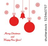 christmas red balls and bell... | Shutterstock .eps vector #525465757