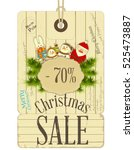 christmas sale tags in vintage... | Shutterstock .eps vector #525473887