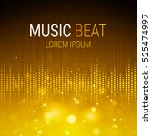 music beat vector. golden... | Shutterstock .eps vector #525474997