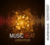 music beat vector. golden... | Shutterstock .eps vector #525475537
