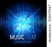 music beat vector. blue lights... | Shutterstock .eps vector #525475567