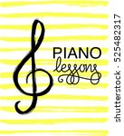 piano lessons logo. music note... | Shutterstock .eps vector #525482317