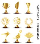 golden trophy cups and awards ... | Shutterstock .eps vector #525482893