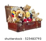 toys in old suitcase  isolated... | Shutterstock . vector #525483793