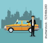 cab car driver uniform service... | Shutterstock .eps vector #525486283