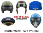 set of aviator helmets and hats.... | Shutterstock .eps vector #525490603