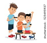 teenagers playing video game... | Shutterstock .eps vector #525495937