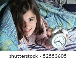 wake up   child and alarm clock | Shutterstock . vector #52553605