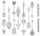 vector ethnic arrows set in... | Shutterstock .eps vector #525536767