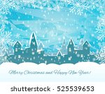 silhouette of snowing  winter... | Shutterstock .eps vector #525539653