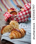 homemade croissants on vintage... | Shutterstock . vector #525545797