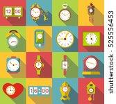 different clocks icons set.