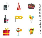 holiday icons set. flat... | Shutterstock . vector #525573343