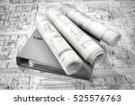 blue folder document and... | Shutterstock . vector #525576763