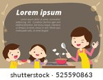 mother daughter and son cooking. | Shutterstock .eps vector #525590863