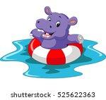 cute hippo cartoon | Shutterstock . vector #525622363