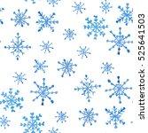 Blue Snowflakes On A White...