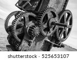 rusty gears and winch mechanism ... | Shutterstock . vector #525653107