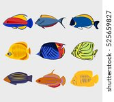 reef fish icon set on white... | Shutterstock .eps vector #525659827