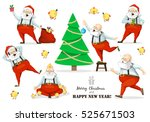 santa claus set of poses and... | Shutterstock .eps vector #525671503